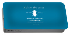 Mountain Pine Beetle White On Black Portable Battery Charger