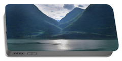 Mountains Along Lustrafjorden Portable Battery Charger