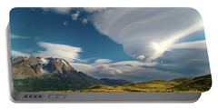 Mountains And Lenticular Cloud In Patagonia Portable Battery Charger