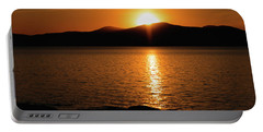 Mountains And River At Sunset Portable Battery Charger