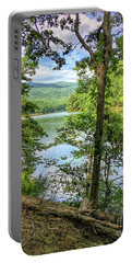 Portable Battery Charger featuring the photograph Mountains, Lake And Trail by Kerri Farley