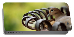 Mourning Dove In A Flower Planter Portable Battery Charger