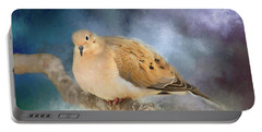 Mourning Dove Of Winter Portable Battery Charger by Darren Fisher