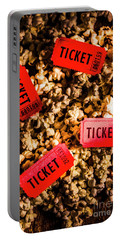 Movie Tickets On Scattered Popcorn Portable Battery Charger