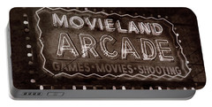 Portable Battery Charger featuring the photograph Movieland Arcade - Gritty by Stephen Stookey
