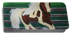 Portable Battery Charger featuring the painting Moving Horse by Donald J Ryker III