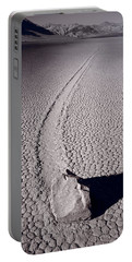 Moving Rocks Number 2  Death Valley Bw Portable Battery Charger by Steve Gadomski
