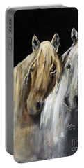 Portable Battery Charger featuring the painting Mozart And The White Wind Horse by Barbie Batson