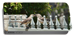 Mr And Mrs Mockingbird With Worms Portable Battery Charger
