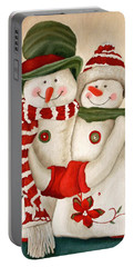 Mr. And Mrs. Snowman Vintage Portable Battery Charger