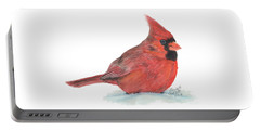Portable Battery Charger featuring the painting Mr Cardinal by Betsy Hackett