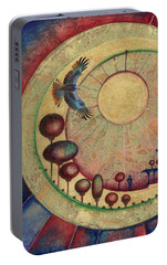 Portable Battery Charger featuring the painting Mr Twardowski On The Moon by Anna Ewa Miarczynska