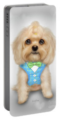 Portable Battery Charger featuring the painting Mr.toby Waffles by Catia Lee
