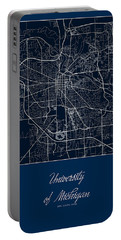 U Of M Street Map - University Of Michigan In Ann Arbor Map Portable Battery Charger by Jurq Studio