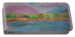 Portable Battery Charger featuring the painting Mt Desert From Marlboro Beach by Francine Frank
