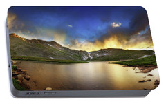 Portable Battery Charger featuring the photograph Mt. Evens Summit Lake Sunset by Chris Bordeleau