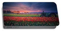 Portable Battery Charger featuring the photograph Mt. Hood And Tulip Field At Dawn by William Lee