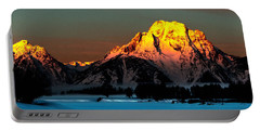 Portable Battery Charger featuring the photograph Mt. Moran Winter Sunrise by Norman Hall