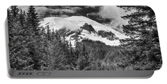 Portable Battery Charger featuring the photograph Mt Rainier View - Bw by Stephen Stookey