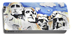 Portable Battery Charger featuring the painting Mt. Rushmore, Usa by Terry Banderas