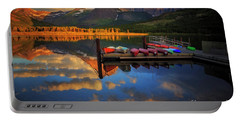 Mt. Wilbur And Swiftcurrent Lake Morning Portable Battery Charger by Craig J Satterlee