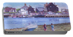 Portable Battery Charger featuring the painting Mudeford Quay Christchurch From Hengistbury Head by Martin Davey