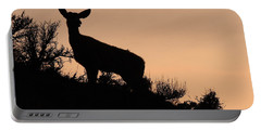 Portable Battery Charger featuring the photograph Mule Deer Silhouetted Against Sunset Ridge by Max Allen