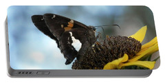 Multi Color Moth On Sunflower Portable Battery Charger by Belinda Lee