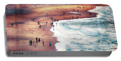 multiple exposure of people on North sea beach  Portable Battery Charger