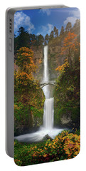 Multnomah Falls In Autumn Colors -panorama Portable Battery Charger by William Lee
