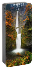 Multnomah Falls In Autumn Colors Portable Battery Charger