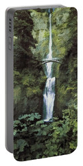 Portable Battery Charger featuring the photograph Multnomah Falls Painterly by Diane Schuster