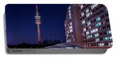 Munich - Olympictower And Village Portable Battery Charger by Hannes Cmarits