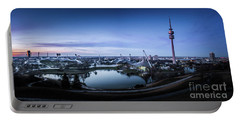 Munich - Watching The Sunset At The Olympiapark Portable Battery Charger by Hannes Cmarits