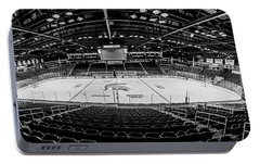 Munn Ice Arena Black And White  Portable Battery Charger by John McGraw