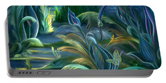 Mural  Insects Of Enchanted Stream Portable Battery Charger by Nancy Griswold