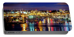 Murray Morgan Bridge View During Blue Hour In Hdr Portable Battery Charger by Rob Green