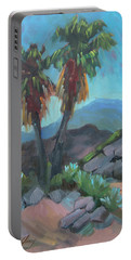 Portable Battery Charger featuring the painting Murray Trail Andreas Canyon by Diane McClary