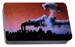 Portable Battery Charger featuring the digital art Mushroom Cloud From Flight 175 by James Kosior
