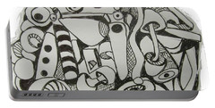 Portable Battery Charger featuring the drawing Mushroom Powered Engine 004 - Bellingham - Lewisham by Mudiama Kammoh