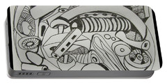 Portable Battery Charger featuring the drawing Mushroom Powered Engine 02 - Bellingham - Lewisham by Mudiama Kammoh