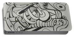 Portable Battery Charger featuring the drawing Mushroom Powered Engine 03 - Bellingham - Lewisham by Mudiama Kammoh