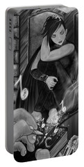 Music Is Magic - Black And White Fantasy Art Portable Battery Charger