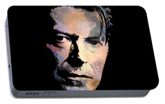 Portable Battery Charger featuring the painting Music Legend. by Andrzej Szczerski