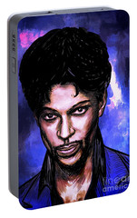 Portable Battery Charger featuring the painting Music Legend  Prince by Andrzej Szczerski