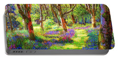 Music Of Light, Bluebell Woods Portable Battery Charger by Jane Small