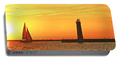 Muskegon Sunset Portable Battery Charger by Michael Peychich