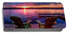 Portable Battery Charger featuring the photograph Muskoka Chair Sunset by Michaela Preston