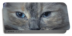 Mustachioed Cat Portable Battery Charger by Karen Stahlros