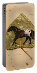 Mustang Appaloosa On Poplar Leaf Portable Battery Charger
